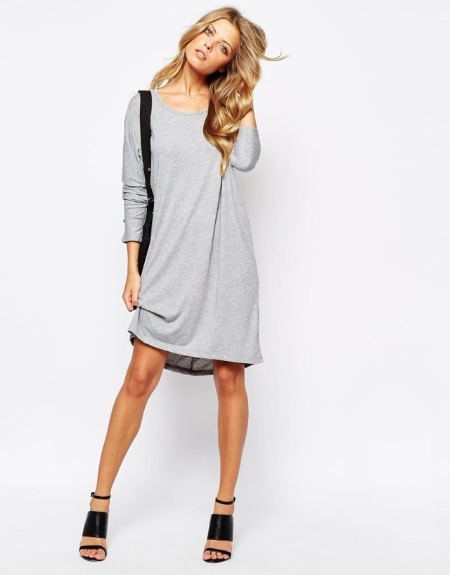heather gray long sleeve t-shirt dress outfit