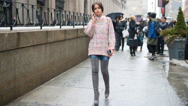 heather gray, thick sweater with white collar shirt and overknee boots