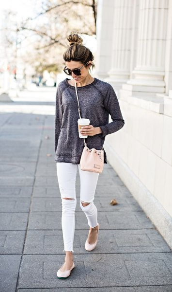 heather gray, chunky sweatshirt, white, ripped skinny jeans