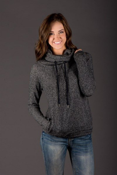 heather gray hoodie with a cowl neckline and blue straight-leg jeans
