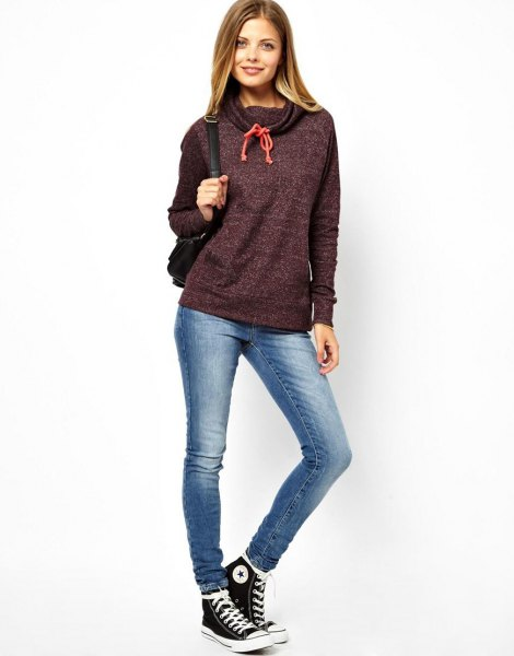heather gray hoodie with waterfall neckline, skinny jeans and high trainers