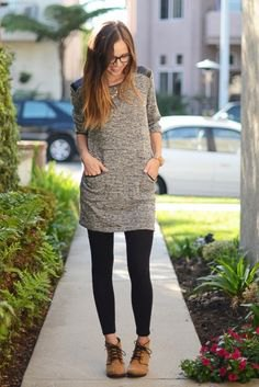 Heather gray, extra long tunic top with black leggings