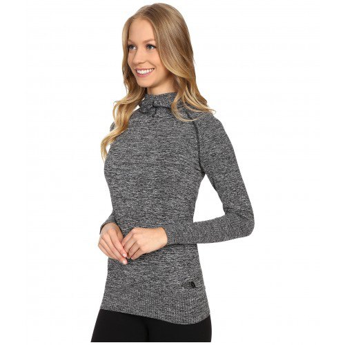 heather gray, figure-hugging sweater with black jeans