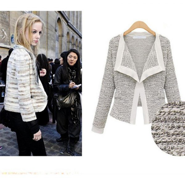 heather gray knitted blazer with black peplum top and leggings