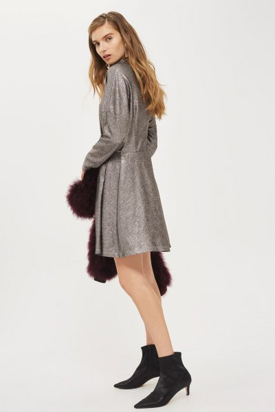 heather gray leather batwing skater dress