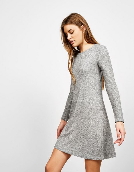 mottled gray mini dress with flared ribs