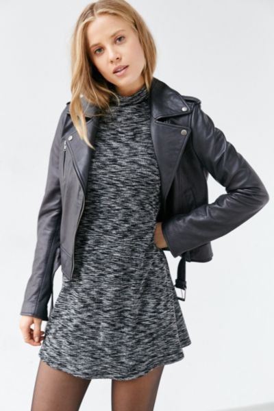 heather gray leather mini dress with leather neck jacket