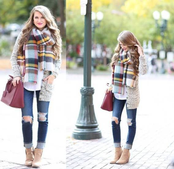 heather gray scarf with a colorful plaid scarf
