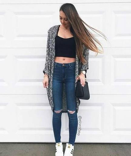 Heather Gray shrugged dark blue ripped skinny jeans