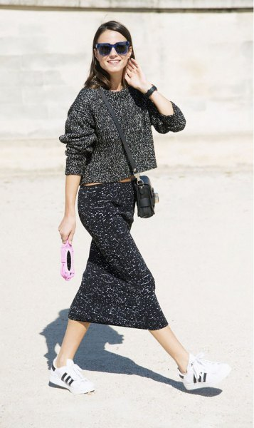heather gray sweater with knitted midi skirt