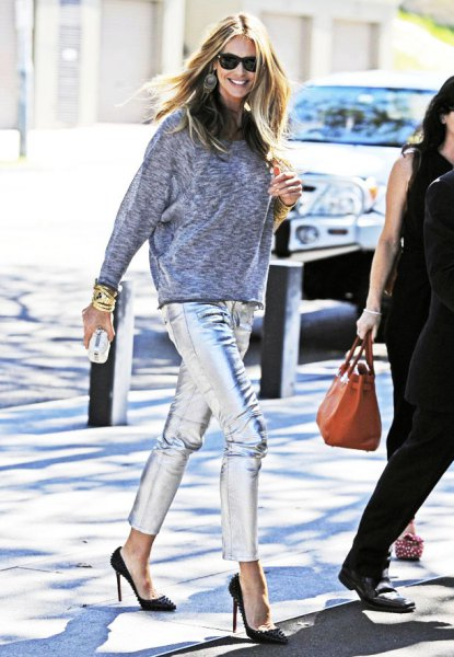 heather gray sweatshirt with shortened silver trousers