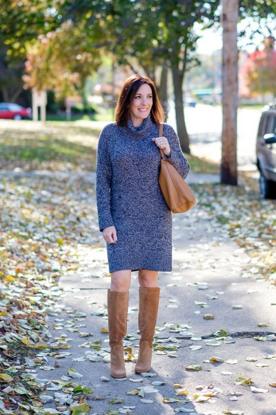 heather gray turtleneck dress with knee-high boots made of camel suede