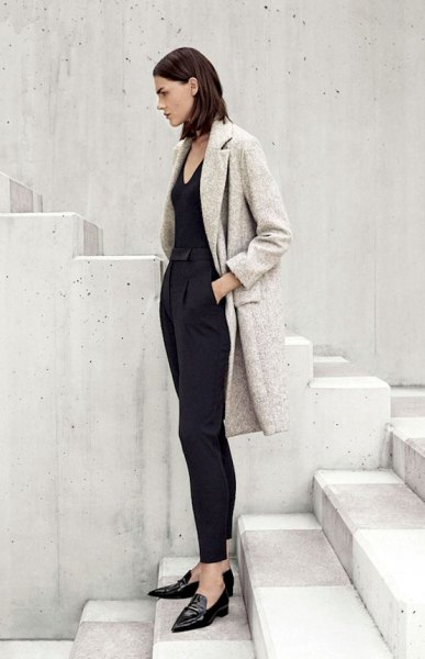heather gray wool coat all black outfit