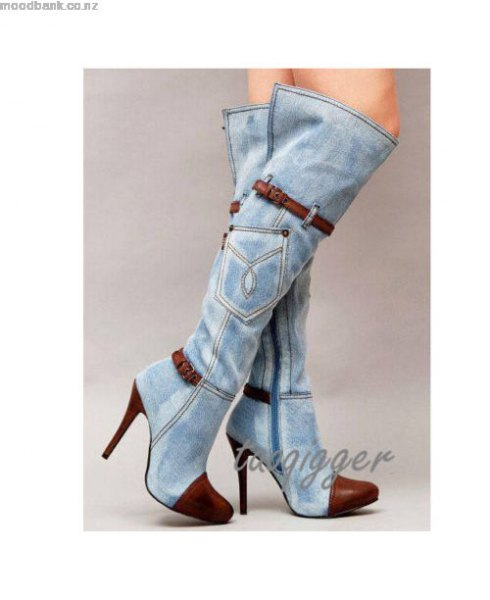 high-heeled, knee-high jeans boots with mini dress