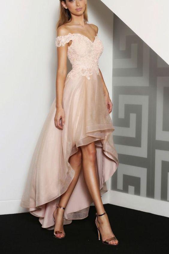 high low lace dress champagne