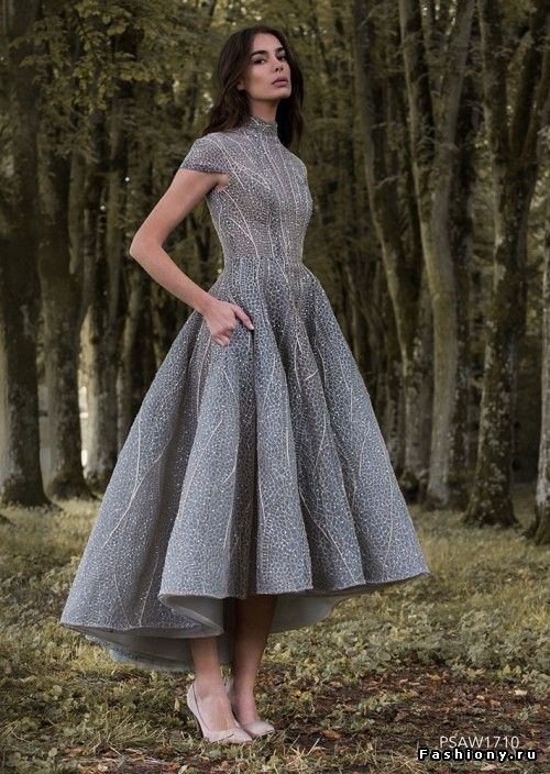 High low lace dress sparkling gray