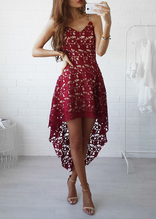 High low lace dress red
