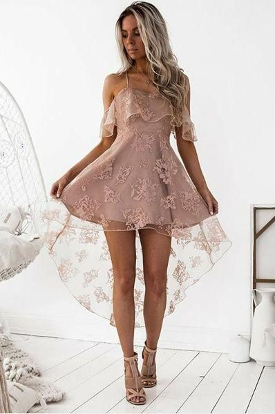 High low lace dress delicate pink