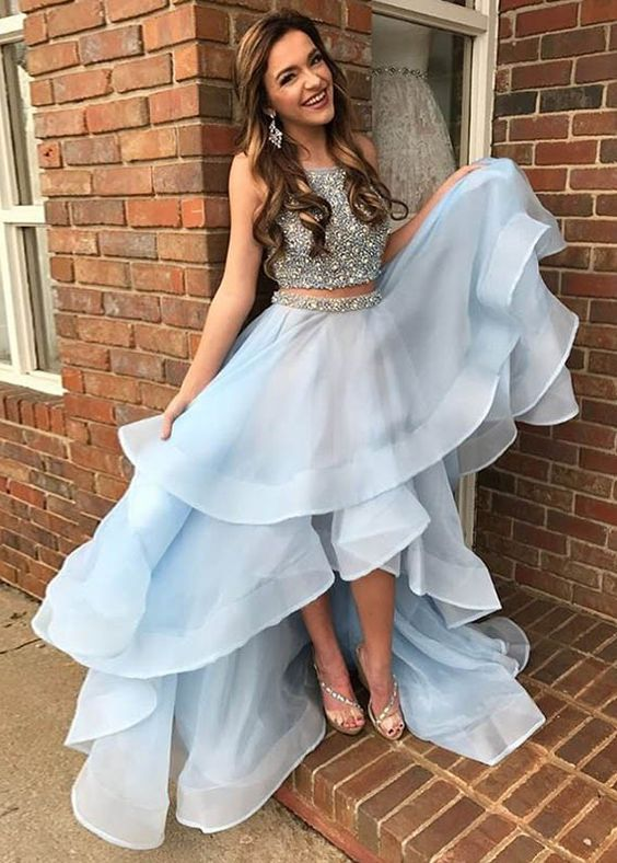 high low prom dress baby blue