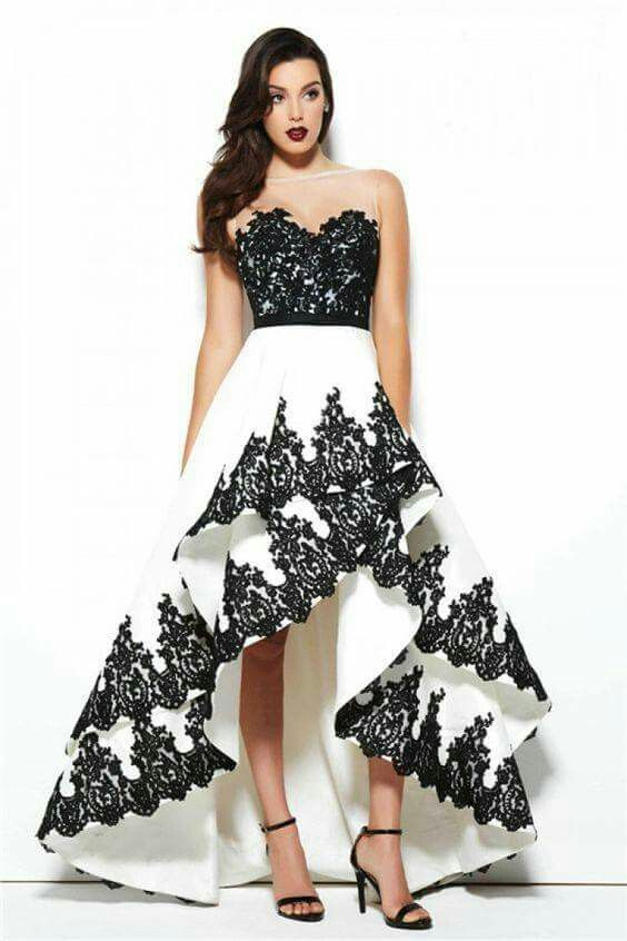 High low ball gown black white