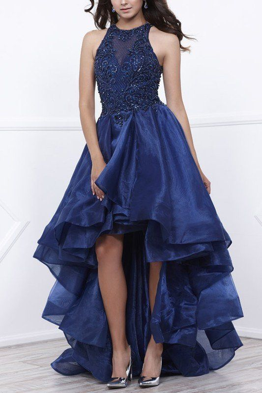 High low ball gown royal blue