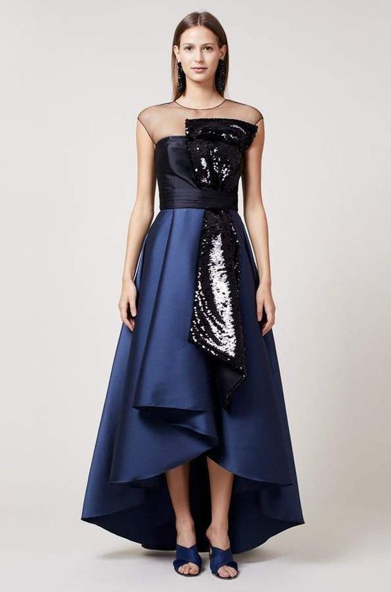 High low prom dress sequin bow