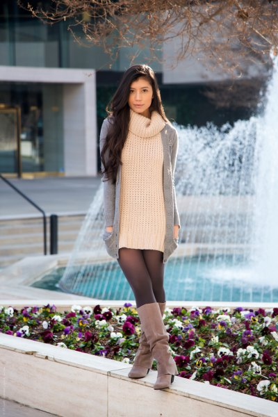 High neck knitted sweater suede boots