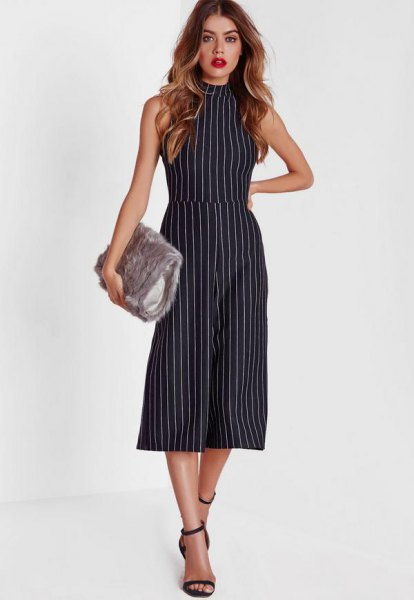 sleeveless, striped culotte overall with a high neck