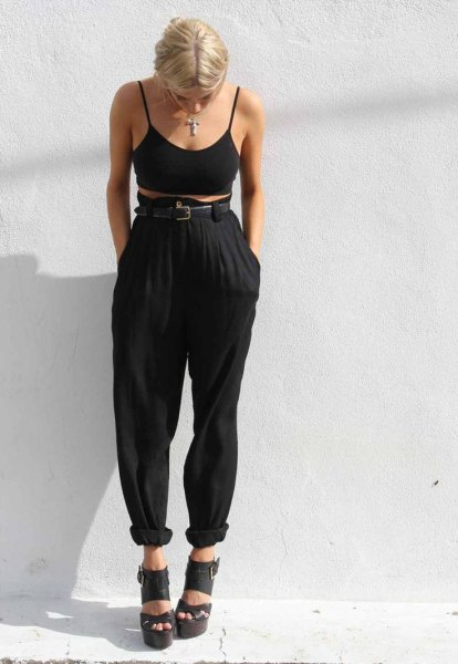 High waist harem pants, black bra top