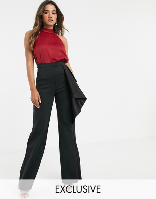 True Violet exclusive high waisted wide leg pants in black | AS