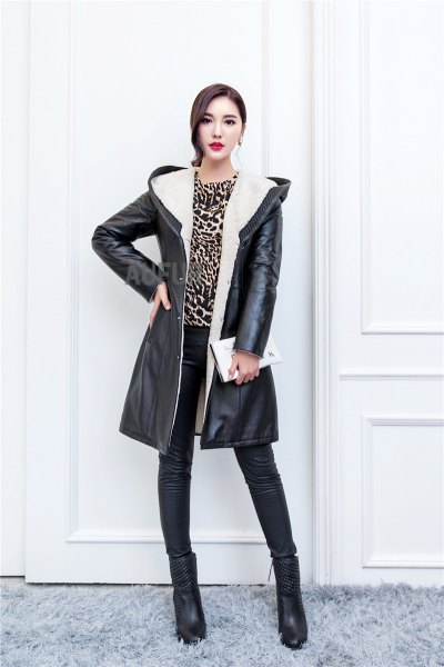 black long leather jacket with hood cheetah top