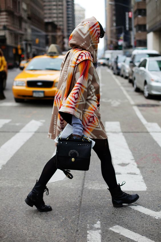 Hooded poncho combat boots