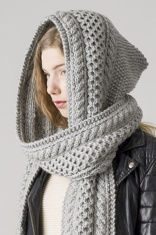 Hooded scarf gray