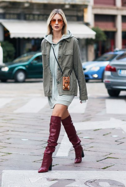 Hoodie dress denim jacket knee high boots