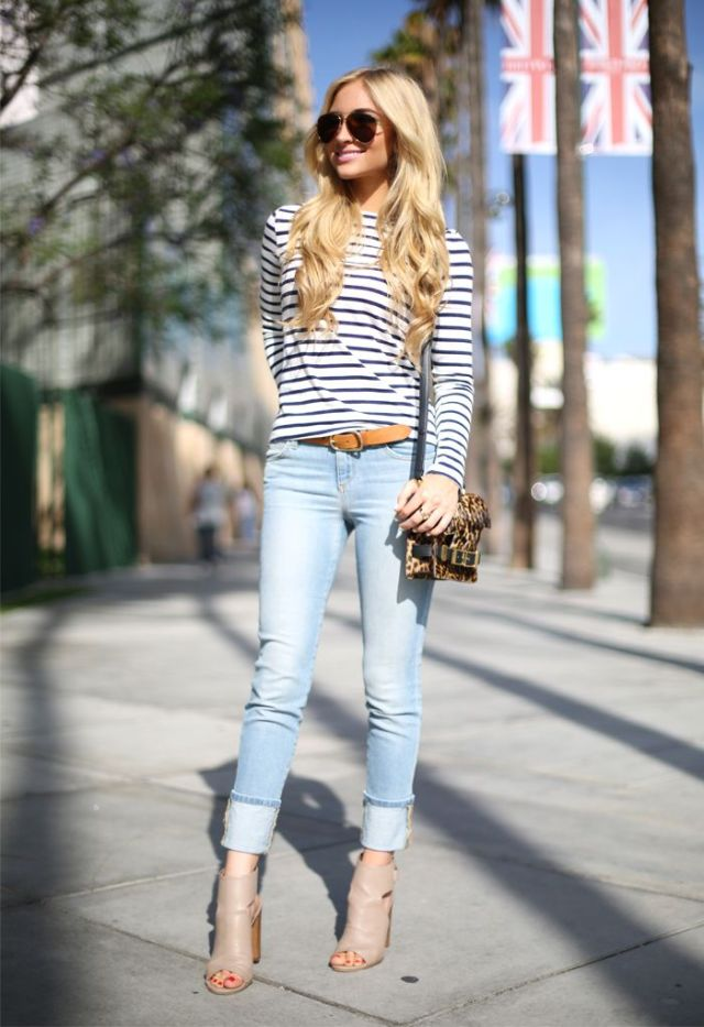 horizontally striped t-shirt with open toes