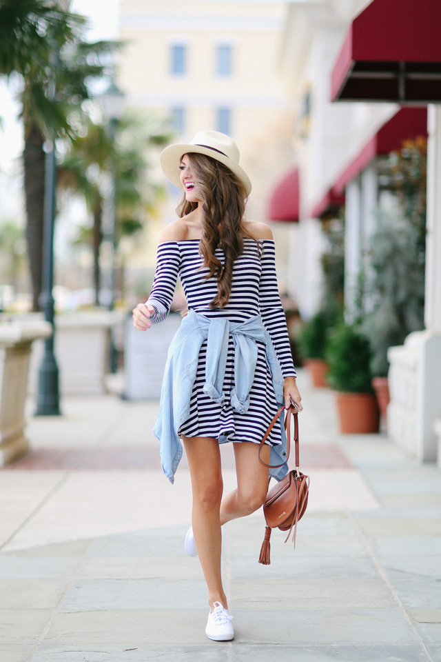 horizontally striped dress with chambray shirt