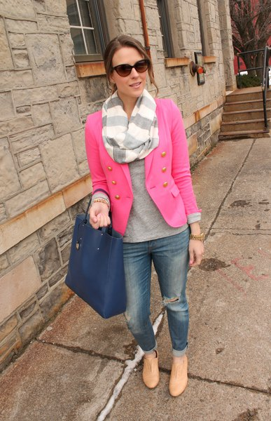 pink blazer with gray sweater and striped scarf