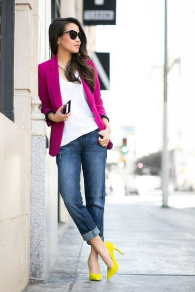 pink blazer with white blouse and yellow heels