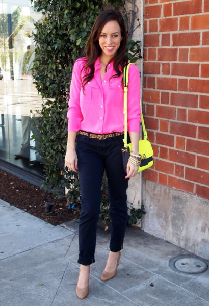 pink blouse with black, short cut chinos