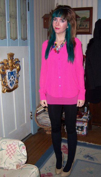 Pink button-up shirt with mini skirt and leggings