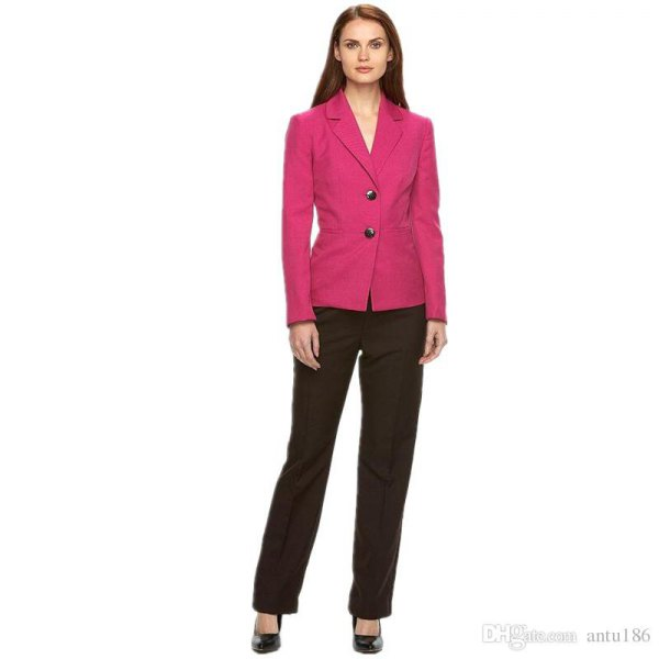 pink double-breasted slim fit blazer with black chinos