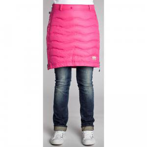 Pink-colored down skirt with gray-blue jeans with cuffs