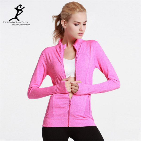 Pink jacket with a white sports bra top