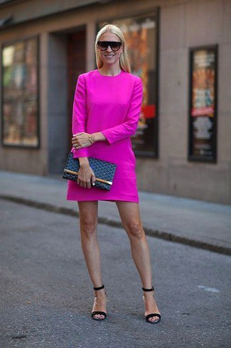Pink long-sleeved mini dress with dark blue sandals