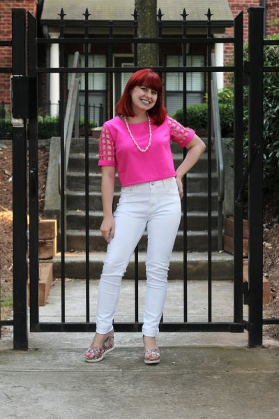 pink mesh top with white jeans and blushing flats