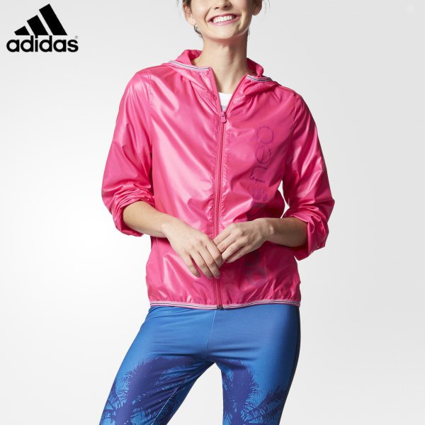 pink sports jacket with blue windbreaker