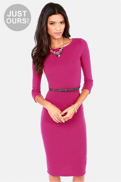 pink midi dress with three-quarter sleeves and belt