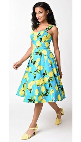 Vintage Style Aqua Blue & Yellow Lemon Print Swing Sundress .