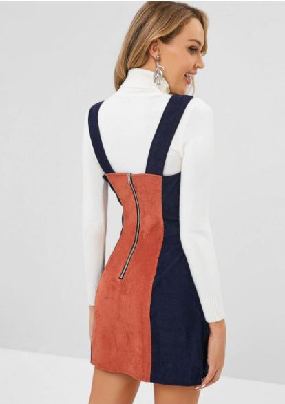 Back Zipper Two Tone Corduroy Pinafore Dress CADETBLUE | Corduroy .