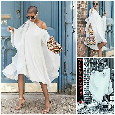 Chic Womens White Perspective Poncho Style Batwing Open Shoulder .